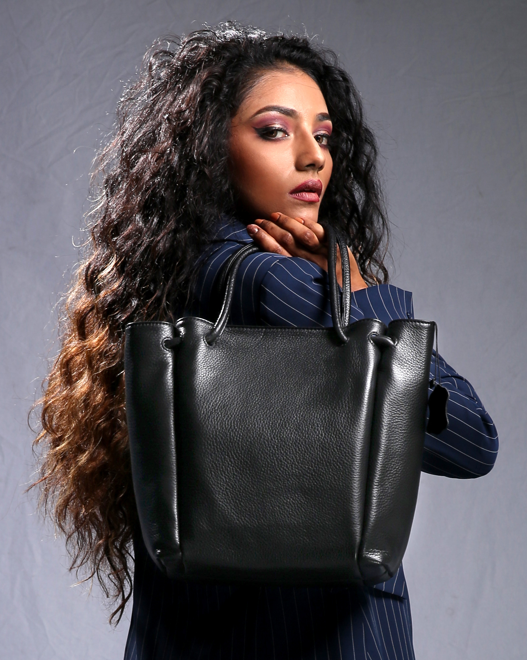 Model with Tote Bag